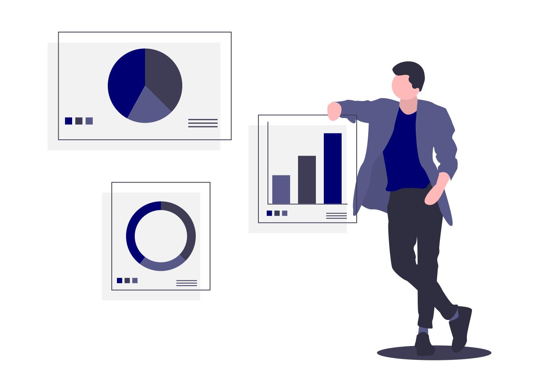 Marketing und Vertrieb Diagramme auf Folien
