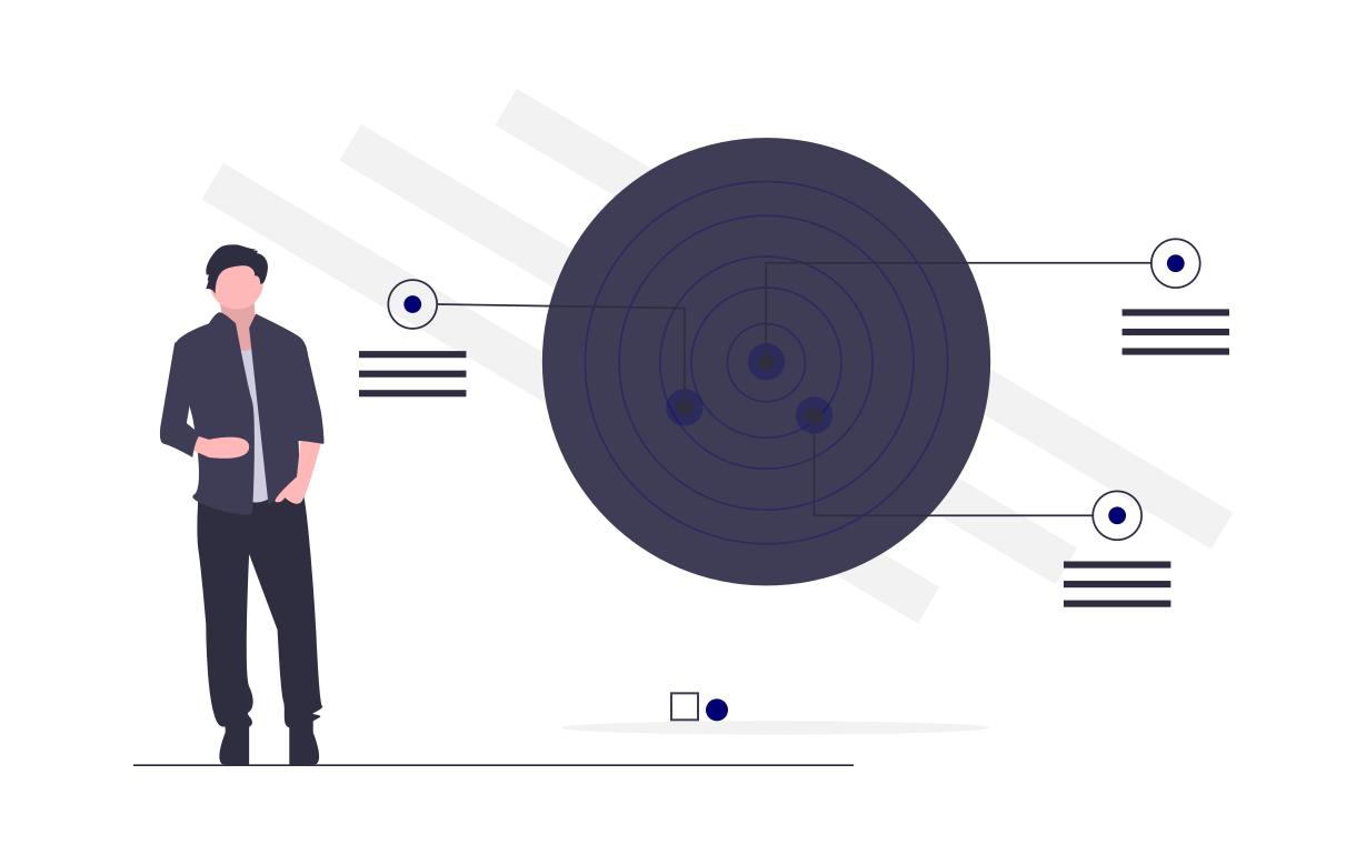 Darstellung erfolgreicher Zielgruppenanalyse anhand von Trefferpunkten auf einer Zielscheibe