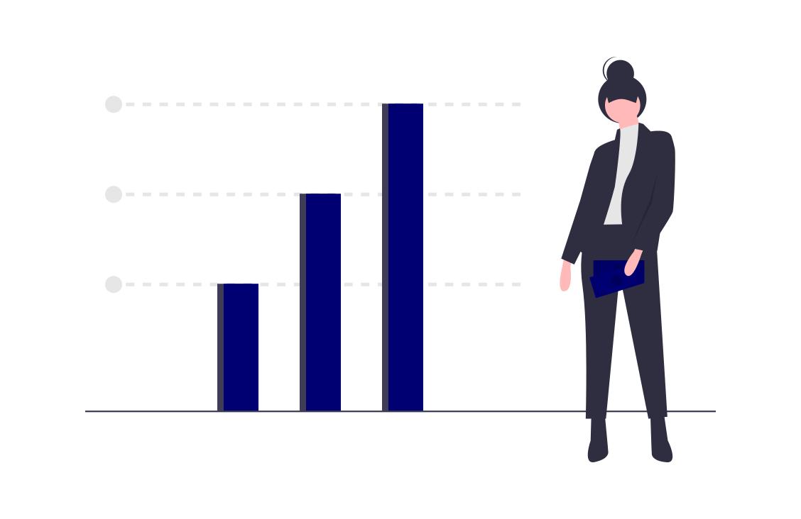 Chart mit steigenden Werten dank Unternehmensberatung