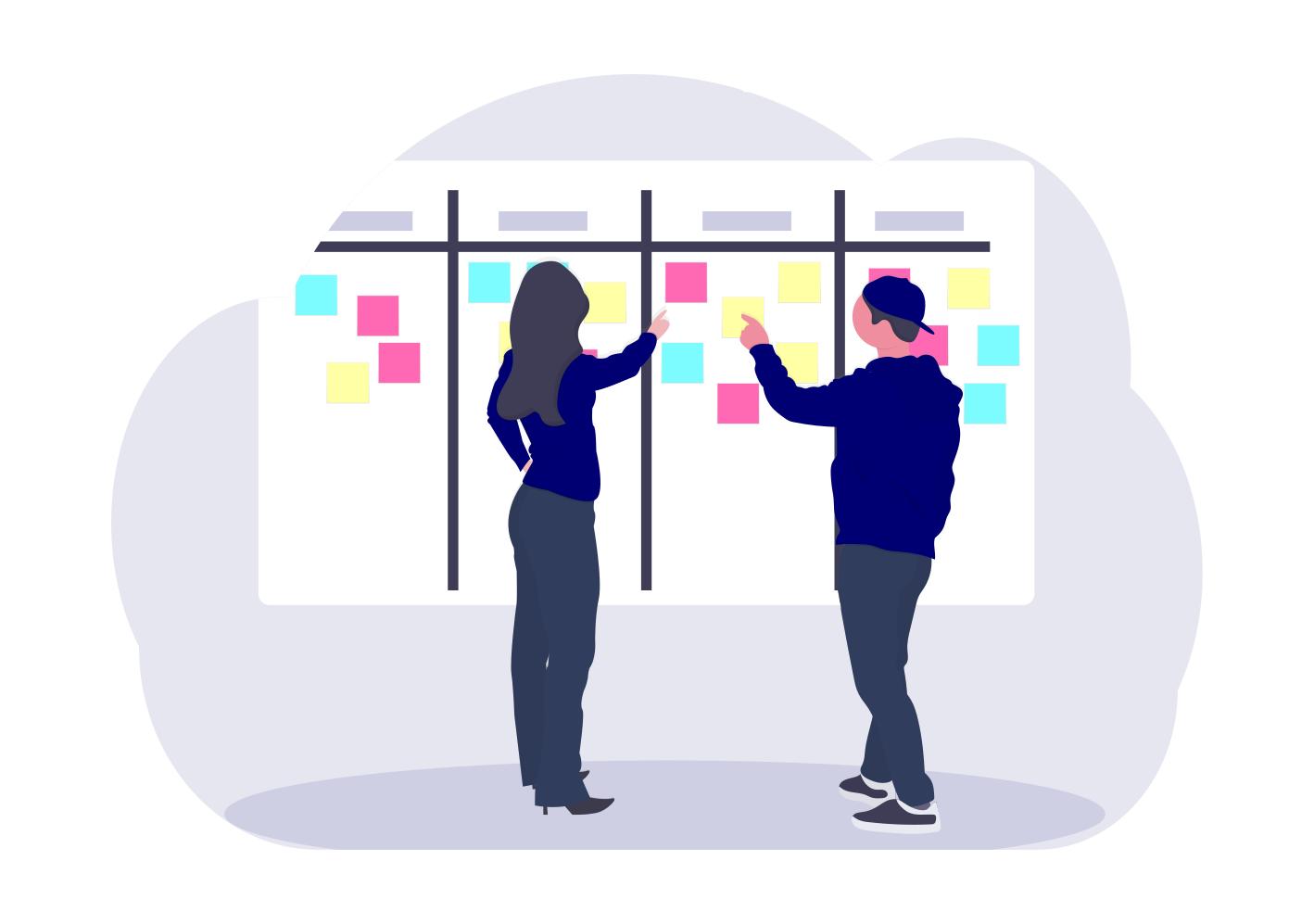 Gemeinsame Planung der Projektrealisierung am Kanban Board